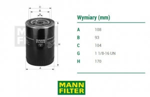 Filtr hydrauliczny MANN-FILTER  nr : W1150/2 ,    CASE,NEW HOLLAND,SAME ODPOWIEDNIK:244192700,244194100/IVECO-1909130/,DONALDSON-P556007